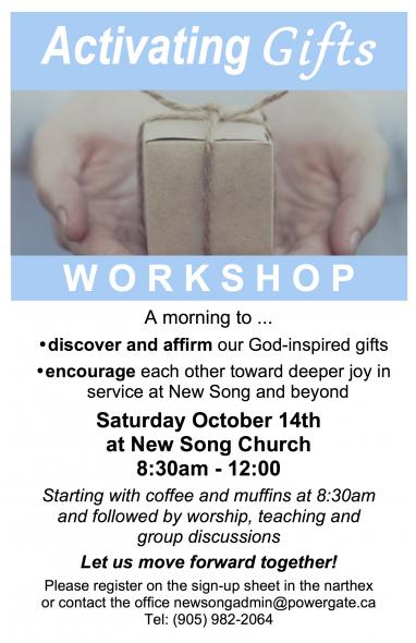 Activating Gifts Workshop @ New Song Church | Port Perry | Ontario | Canada
